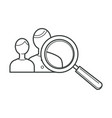 group people users and magnifying glass tool vector image vector image