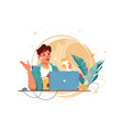 happy man with glasses using laptop for distance vector image vector image