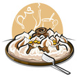 ice cream cake and tea vector image vector image