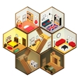 isometric rooms icon vector image vector image