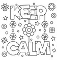 keep calm coloring page vector image vector image