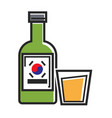 korean drink in bottle and glass cup isolated vector image vector image
