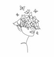 line drawing abstract face with flowers
