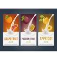 milkshake concept with milk splash and fruit vector image vector image