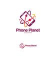 phone planet logo designs mobile planet logo vector image vector image