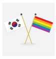 republic of korea and colorful pride rainbow flags vector image vector image