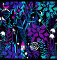 seamless pattern with night forest plants and vector image