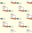 seamless pattern with rabbit and carrot cartoon vector image vector image