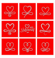 set nine vintage valentines day hand drawn vector image