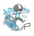 skateboarder typography t-shirt graphics print vector image vector image