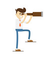 smiling businessman look in spyglass icon vector image vector image