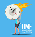 time management woman free time control vector image vector image