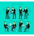 Two businessman negotiate and sign a paper Shake vector image