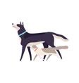 two funny cartoon domestic animal friend walking vector image