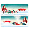 two holiday christmas banners with a gift boxes vector image vector image