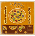 Vintage grunge background with a pizza menu vector image vector image