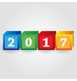 year 2017 from red green blue and yellow bricks vector image vector image
