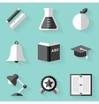 Flat icon set Education White style vector image