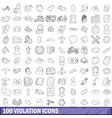100 violation icons set outline style vector image vector image