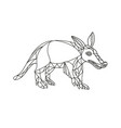 aardvark black and white mono line vector image vector image