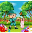 adventure cute boy with rabbit in a flower garden vector image vector image
