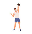 athletic male lifting kettlebell demonstrate power vector image vector image