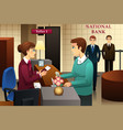 bank teller servicing a customer in the bank vector image vector image