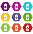 beer in aluminum cans icon set color hexahedron vector image vector image