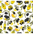 Black olives branches and olive oil background vector image vector image