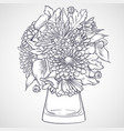 bouquet of callas and chrysanthemum flowers vector image vector image