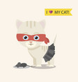 cat in dress in red masc and grey toy vector image