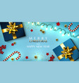 christmas greeting card with garland gifts boxes vector image vector image