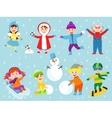 Christmas kids playing winter games vector image vector image