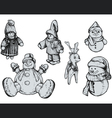 Christmas Puppets - Hand Drawn vector image