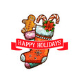 christmas sock with gift and cookie greeting card vector image vector image