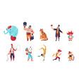 circus characters cartoon clowns juggler throws vector image