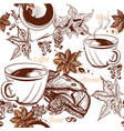 coffee seamless background with engraved coffee vector image