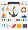 Collection of nautical symbols icons and elements vector image vector image