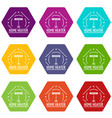 comfort heater icons set 9 vector image vector image