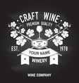 craft wine winer company badge sign or label vector image