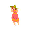curvy overweight girl in fashionable clothes vector image vector image