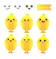 cute chicks with smiley face on white background vector image vector image