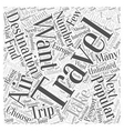 Destinations Popular For Air Travelers Word Cloud vector image vector image