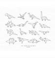 dinosaurus origami set flat vector image vector image