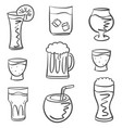 doodle various drink hand draw vector image vector image