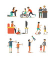 flat icons set of fathers with children vector image vector image