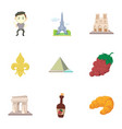french sights icons set cartoon style vector image vector image