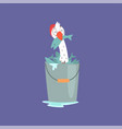 funny seagull sitting inside of a bucket full of vector image vector image