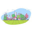 futuristic city park with bench vector image vector image