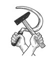 hands with hammer and sickle sketch engraving vector image vector image